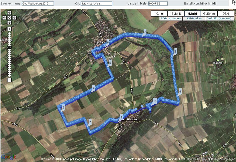 Strecke 10 km Gau-Wandertag 2013 Ndr.-Hilbersheim